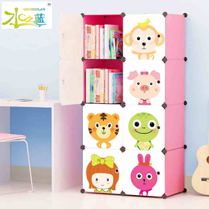 Hot selling wholesale price DIY cute plastic kids bookcase
