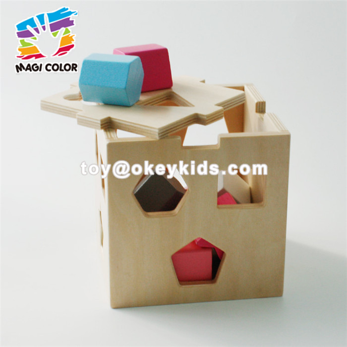 Wholesale most popular wooden geometry blocks shape sorter box toy for kids W12D076