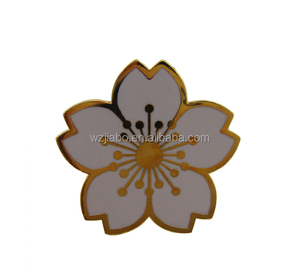 custom promotional zinc alloy hard enamel petal shape lapel pin