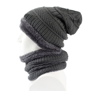 e4af9f3561fa2 Hot Sell Knitting Hat Scarf Set Solid Color Warm Cap Scarves Winter Outdoor  Fleece Lined Mens