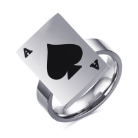 SJ Wholesale promotion male stainless steel ring poker A card rectangle shape big finger rings SJSFR-165