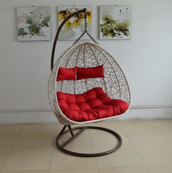 2 Persons Garden Wicker Hanging Chair White Rattan Red Cushions Rattan  Wicker Outdoor Furniture