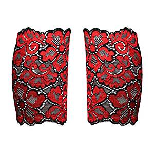 Sock - TOOGOO(R)Women Stretch Lace Boot Cuffs Flower Leg Warmers Lace Trim Soft Toppers Socks red