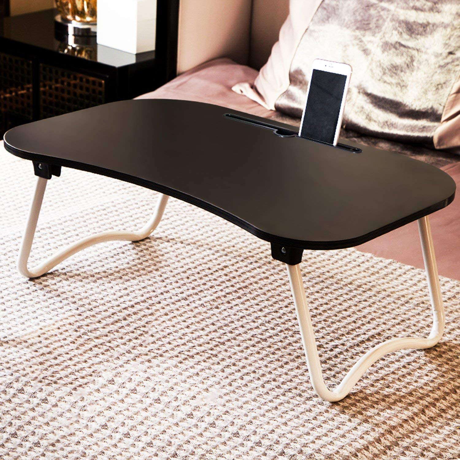 Jerry & Maggie Laptop Desk Wood Round Edge Lapdesk Game Table with Non-slip design & I pad Slot - Foldable Portable on Bed Sofa Party Computer Play Table Lazy Personal Desk (Jet Black)