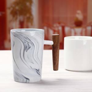 Custom Wooden Handle Porcelain Mugs Ceramic Marble Mug for Tea Coffee Milk