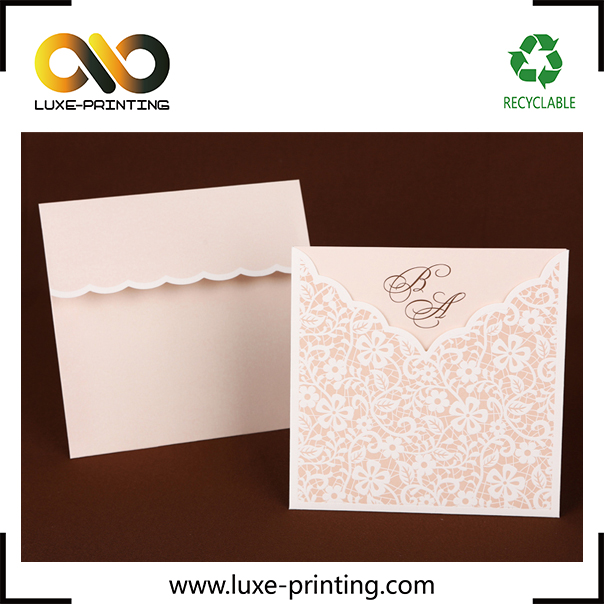 Baby pink classic luxury wave vintage pattern Flower and Plants Laser Cut Elegant Wedding Invitation Card