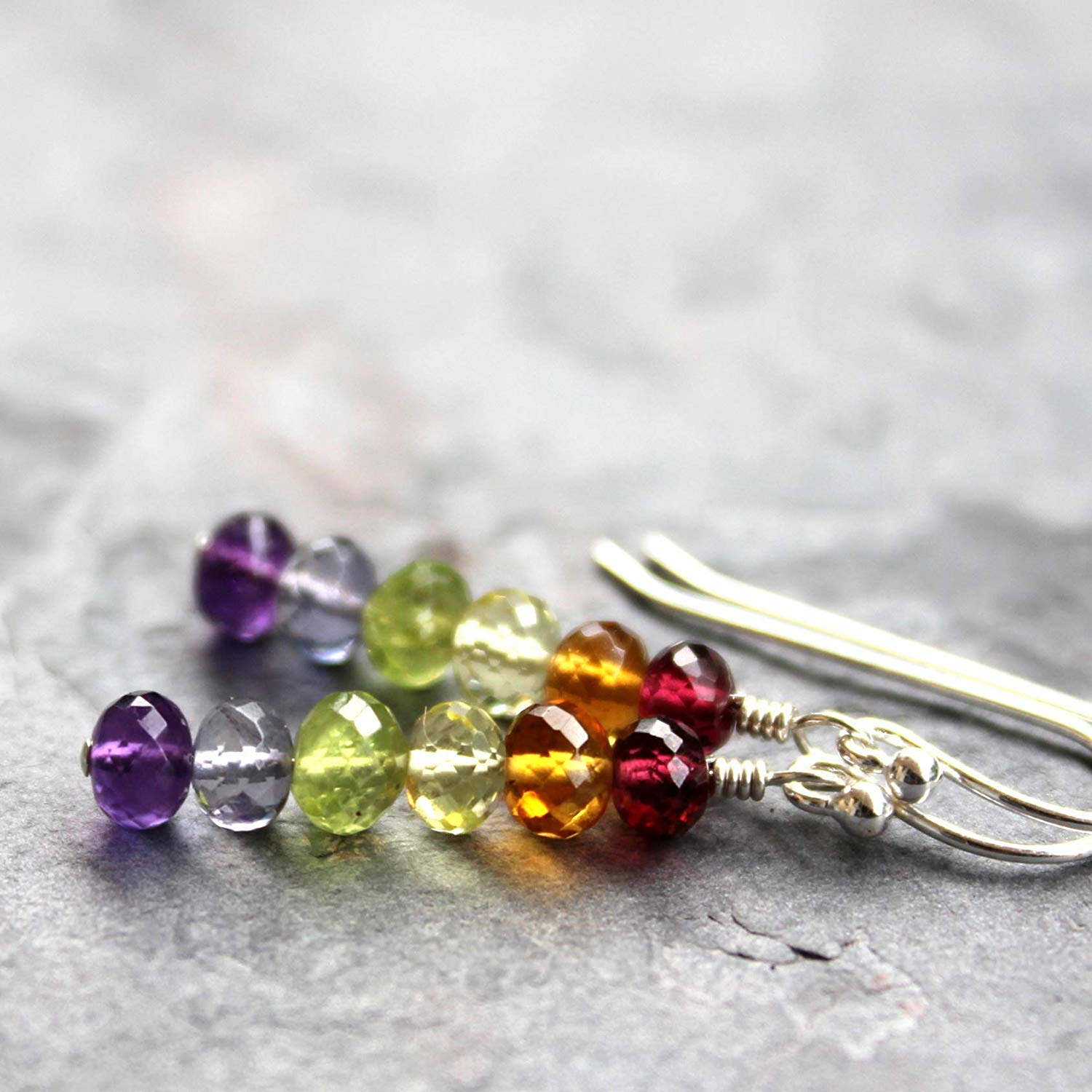8a08c5597 Get Quotations · Multi Gemstone Sterling Silver Earrings Pride Rainbow LGBT  Support