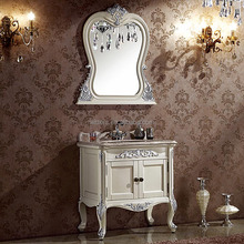 French Classic White Custom Bathroom Cabinet with Countertop,Small Bespoke Bathroom Furniture WTS610