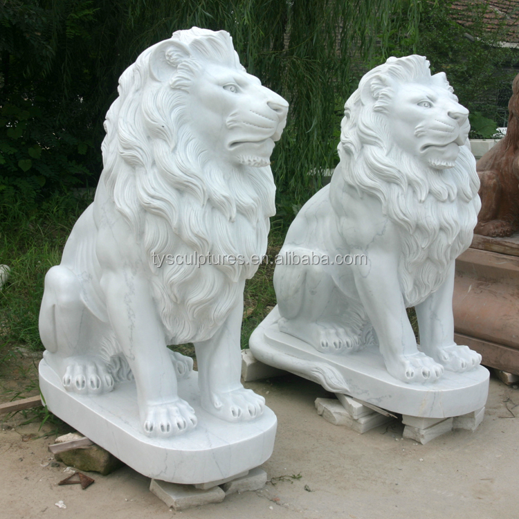 life size stone white marble sitting lion carving for outdoor home garden