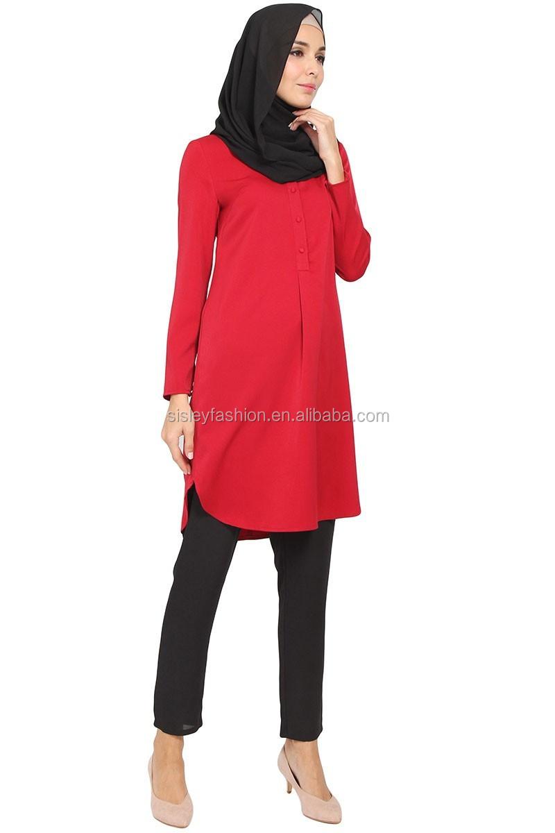 New Fashion Muslim Tunic Tops Muslim Ladies Tunic Blouse Tops Baju ...