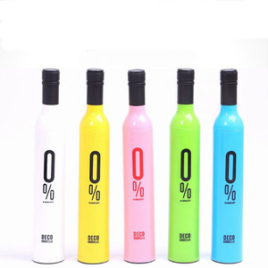 wedding waterbottle shape colorful wine bottle UV coated cute rain umbrellas