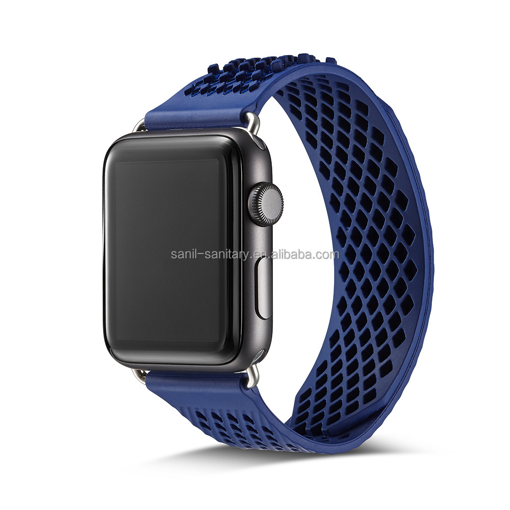 Hot Selling Resistance Band Rubber Band For Apple Watch Strap Silicone Sport Bands For Apple Watch Replica