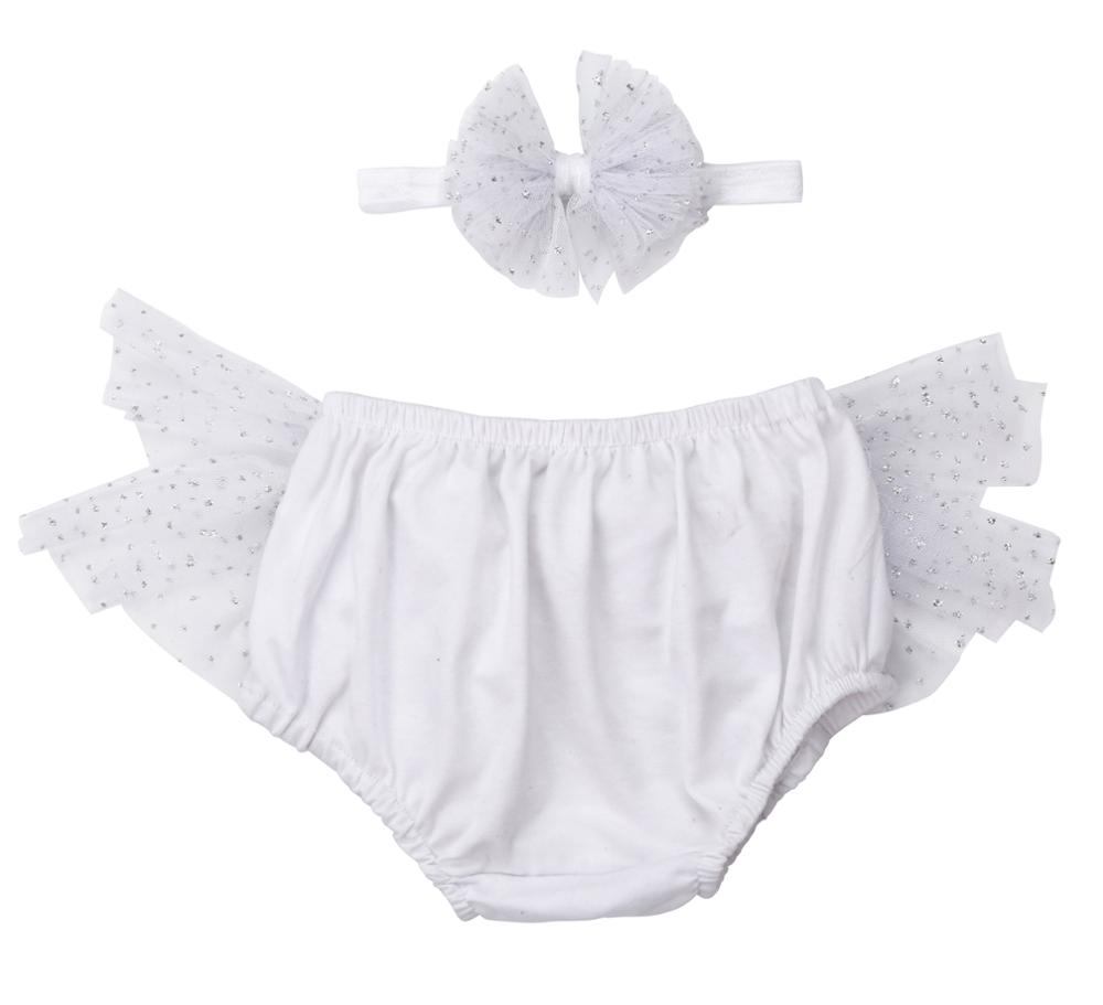 2019 new design baby girls cotton ruffle panties tutu bloomer with headband set