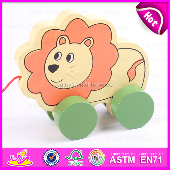 Lovely animal lion pulling toy wooden toy pulling for kids,Children Funny Play Wooden Lion Pull Along Cart Toy W05B113