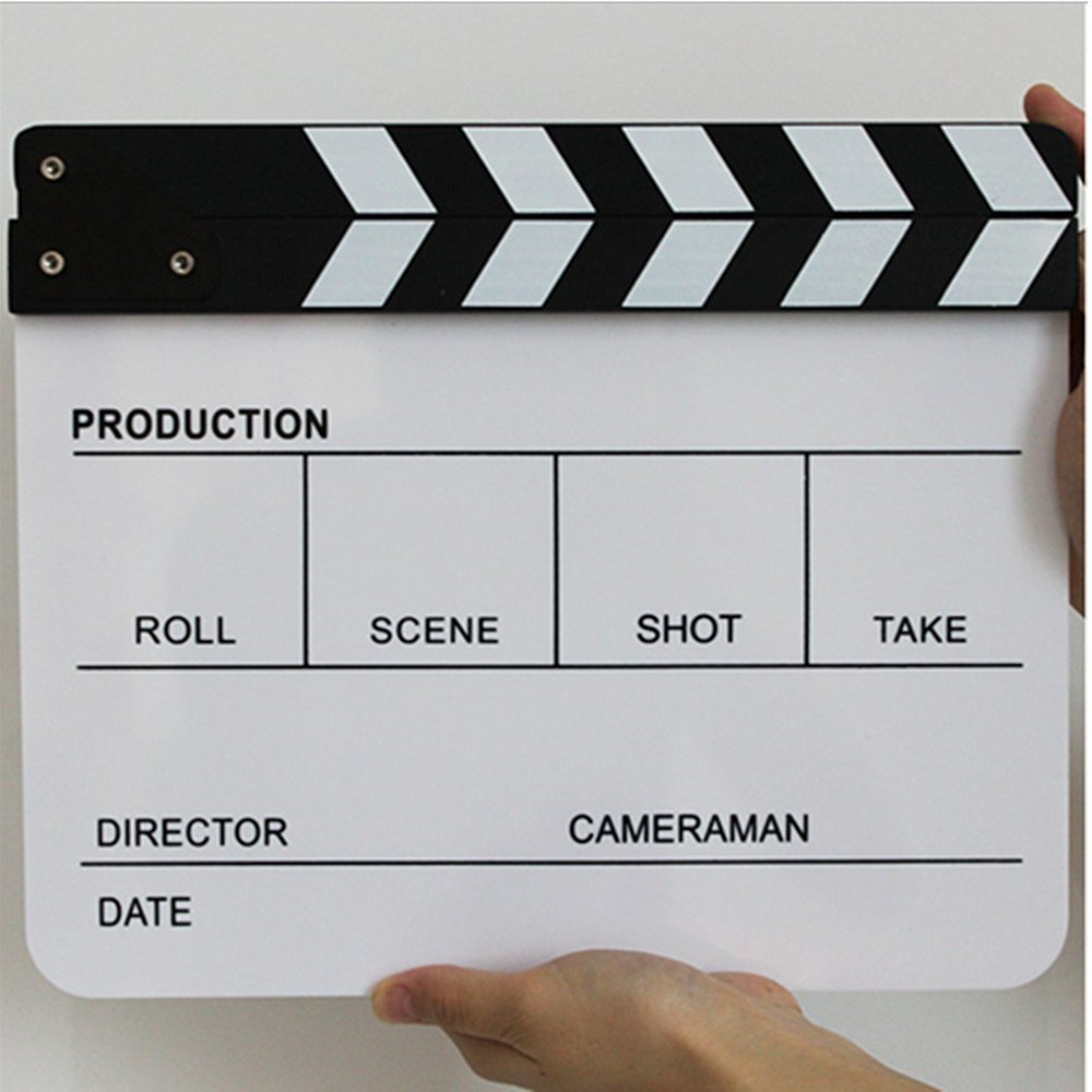 Movie Slate, Playing Board Clapper, Acrylic Clapperboard, Movie Clapper Dry Erase Director's Film Clapboard Cut Action Scene Clapper Board Slate (White)