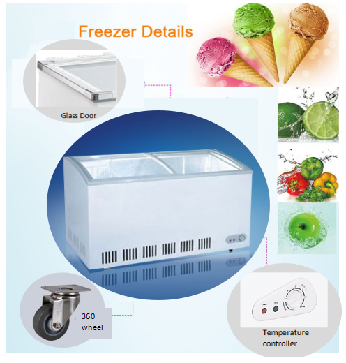 260L High Quality Ice Cream Display Freezer With CE UL