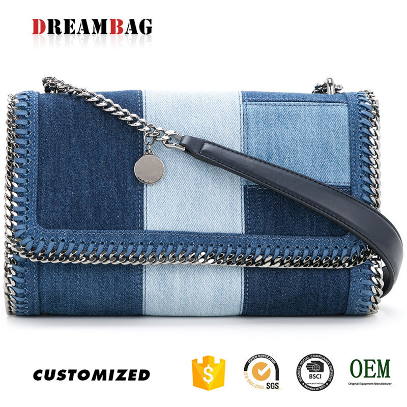 Denim applique design oem guangzhou fashion sling bag for girls