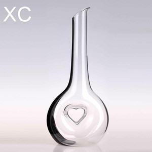 hand blown engraved pressed antique glass wine decanter