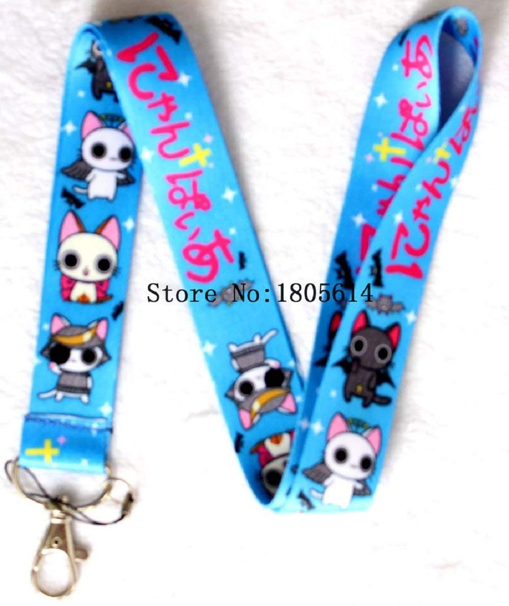 Blue Anime Cats Lanyard Key Chain Neck Strap ID Badge Holder