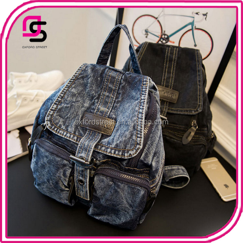 2016 China suppliers customize promotional top sale school washed denim backpack