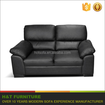 Black Leather Sofa Big Loveseat Set High Back Coshion And Rounded ...