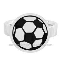 Stainless Steel ring with a colorful soccer ball mounted on top of the band
