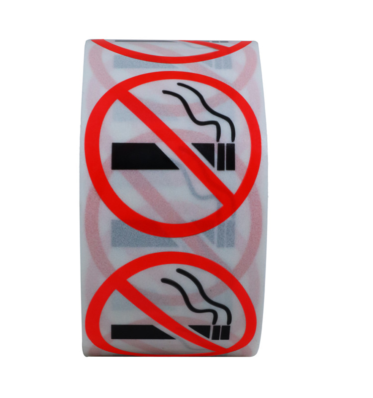 "Hybsk Clear Vinyl No Smoking Logo Warning Stickers 1.5"" Round 500 Total Per Roll"