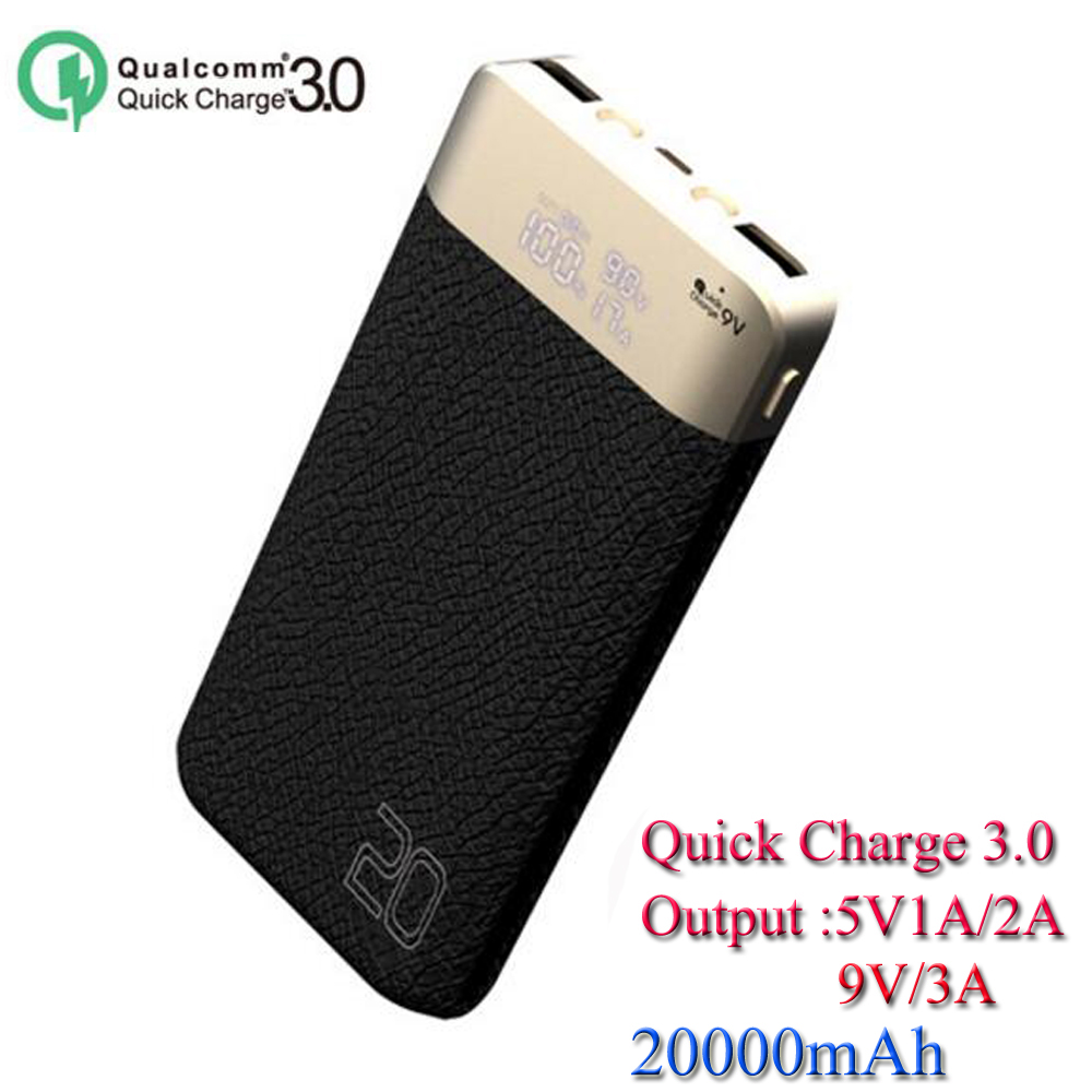 OEM LCD Power Bank 10000mAh/20000mAh High-end Gifts power bank 20000mah Output 5V/1A 2A -/9V-3A Quick Charge