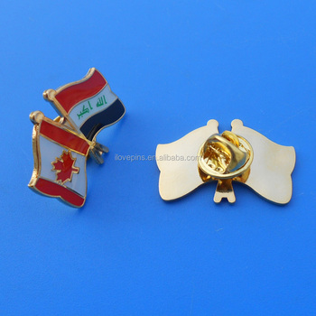 Canada And Iraq Cross Flag Badge Country Flag Friendship Lapel Pin