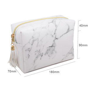Makeup Bag Portable Women Fashion PU Leather Zipper Closure marble Cosmetic Pouch