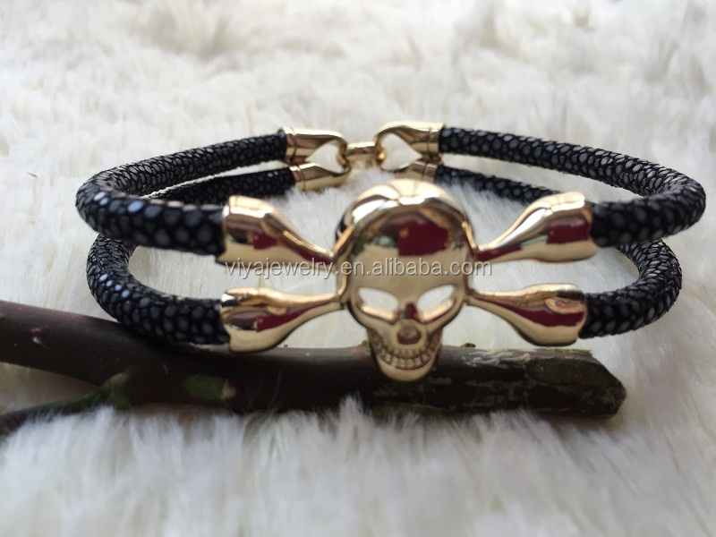 High End Genuine Leather Handmade Men Bracelet Skull Luxury Exotic Manufacturer