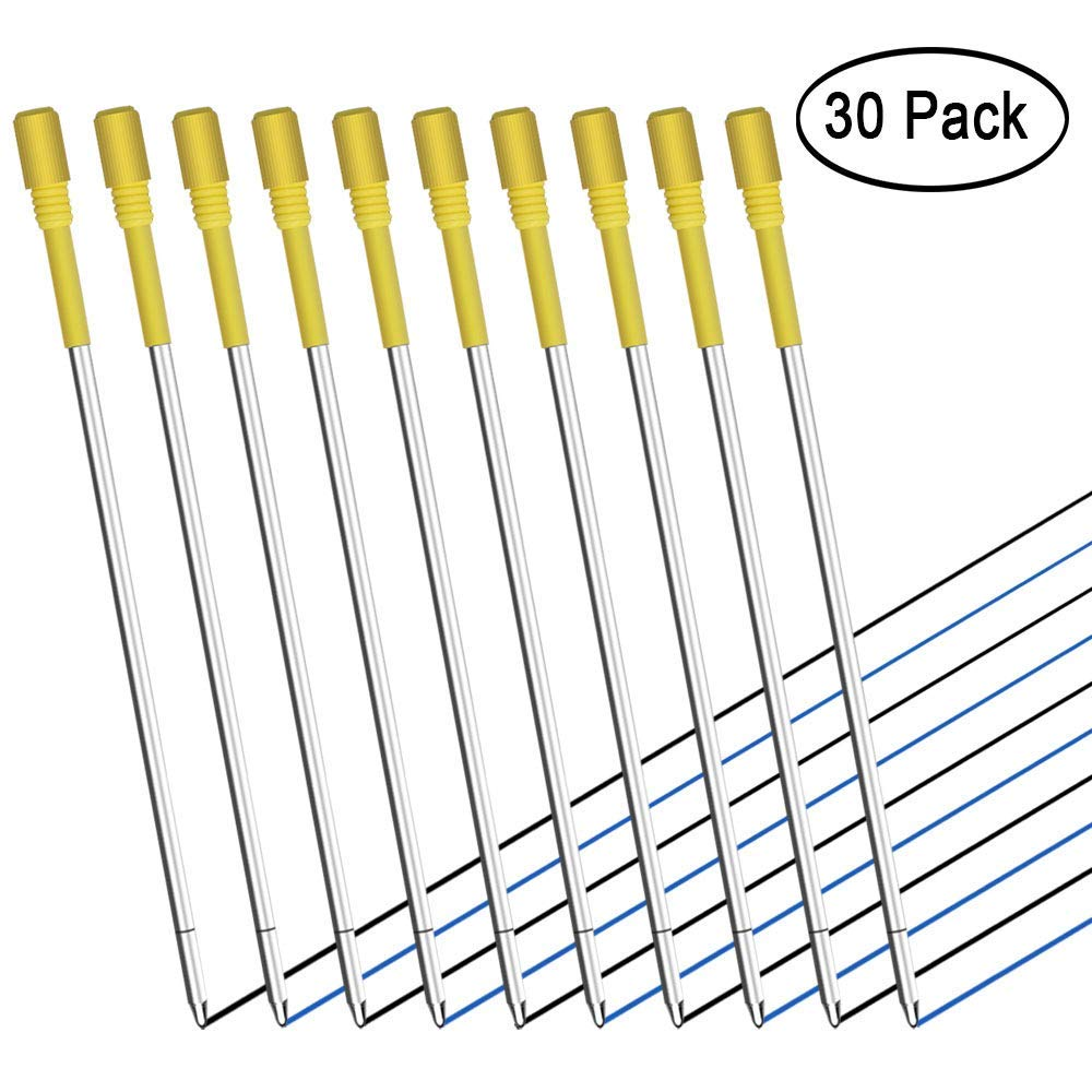 30 PCS Ballpoint Pen Refills for Big Diamond/Crystal Pen, 3.2'' Black and Blue Ink Replaceable Refills for Rose Gold Diamond Pen (15 PCS of Each Color)