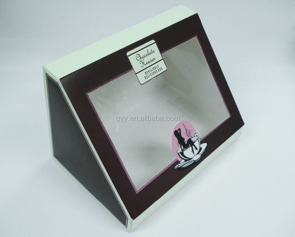 wholesale triangle shape display paper box with PVC window