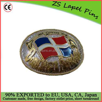 Free artwork design quality personalized Western Style Dominican Republic Flag Belt Buckle