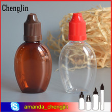 Alibaba wholesale online shopping amber transparent 30ml oval PET dropper bottle for e liquid eye dropper