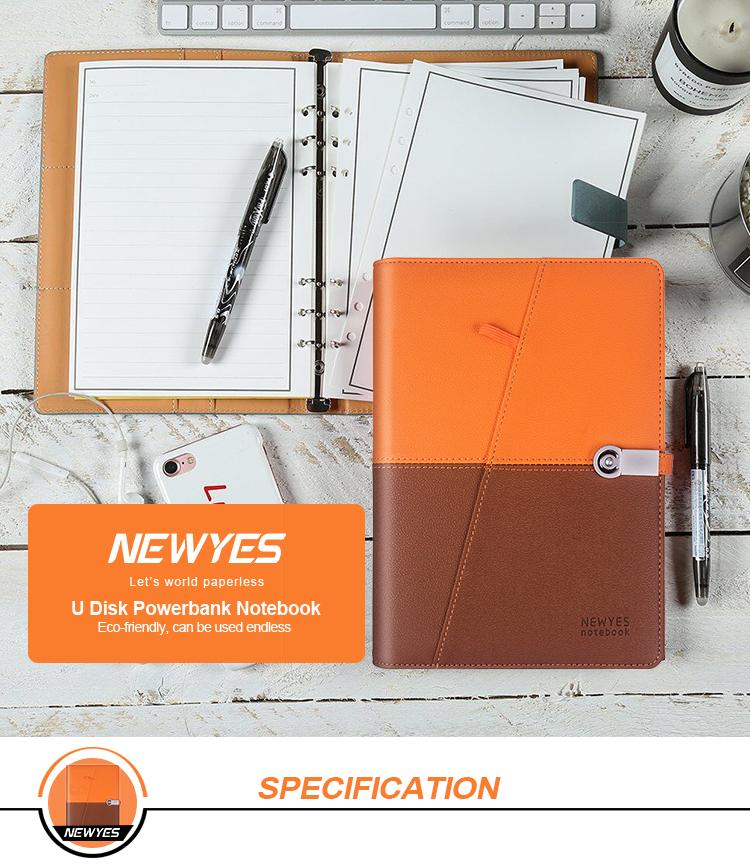 Newyes Leather Smart Erasable Notebook พร้อม 8000 mAh Power Bank และ USB แฟลชดิสก์
