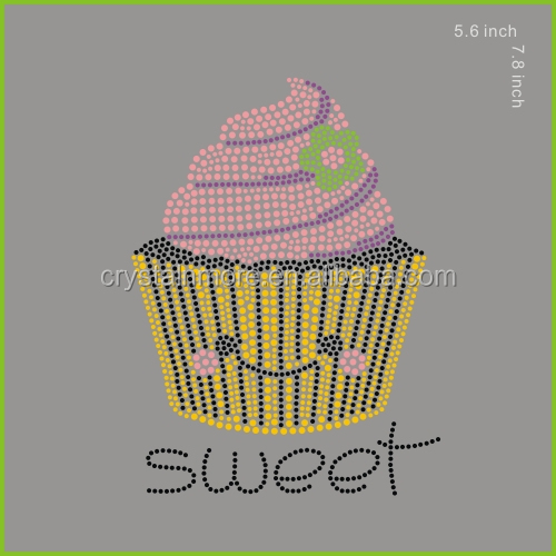 Cupcake Sweet Rhinestuds Hot Fix Transfers for t shirts