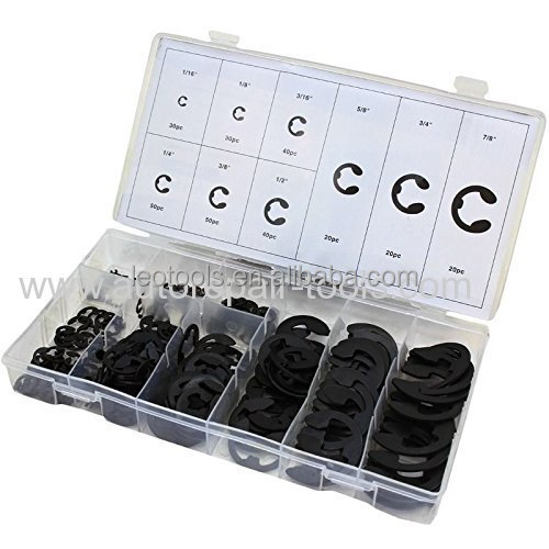 300-PC E-Clip High Carbon Steel Assorted Retaining Fastener