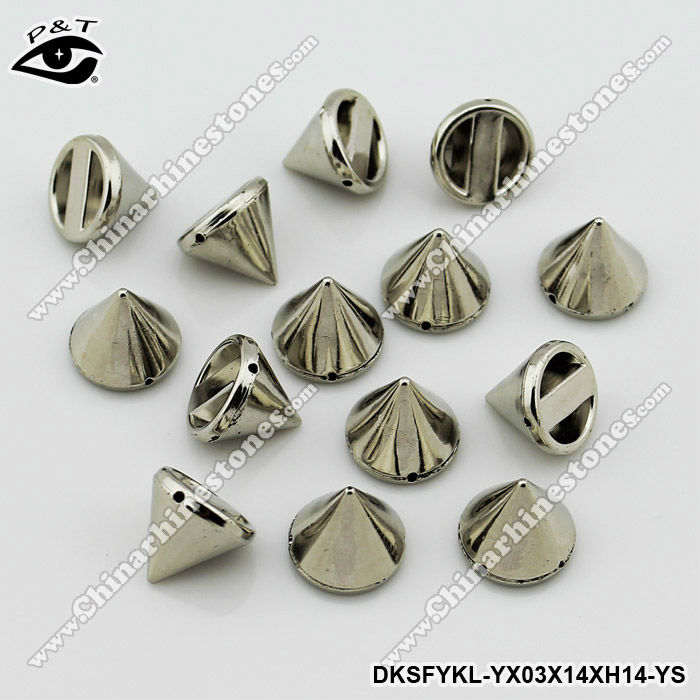 Flat back sew on spike studs for clothing 14mm silver metal color