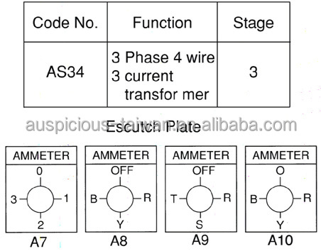 ammeter switch, 3 phase 4 wire 3 current transformer rotary switch Temperature Wiring Diagram ammeter switch, 3 phase 4 wire 3 current transformer rotary switch, cam switch (