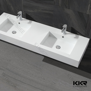 Composite Pure White Solid Surface Resin Faux Marble Stone Bathroom