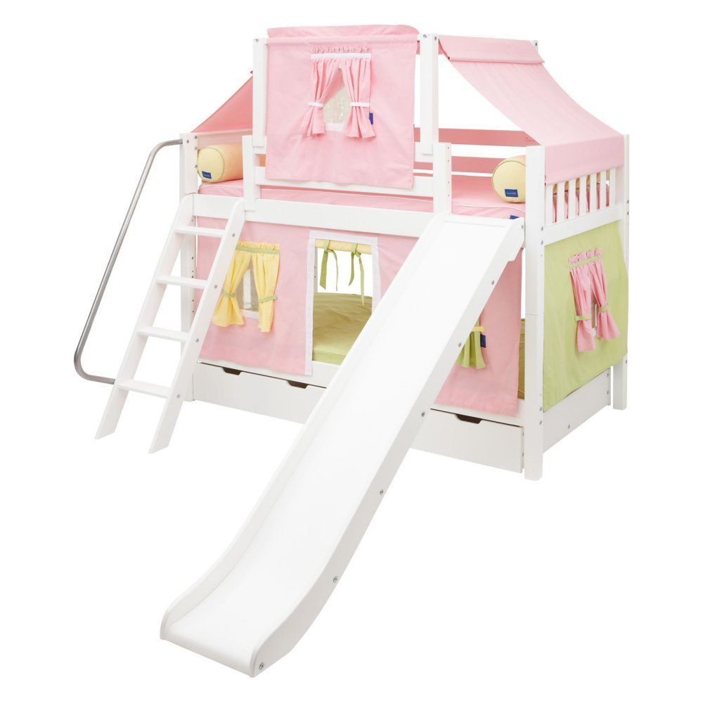 Laugh Girl Twin over Twin Slat Slide Deluxe Tent Bunk Bed