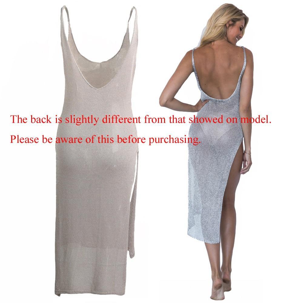 9bc27ac1555 Femmes Bikini Couvrir Semi-Transparent Tricoté Paillettes Sans Manches  Plongeant Dos Nu Côté Split Robe