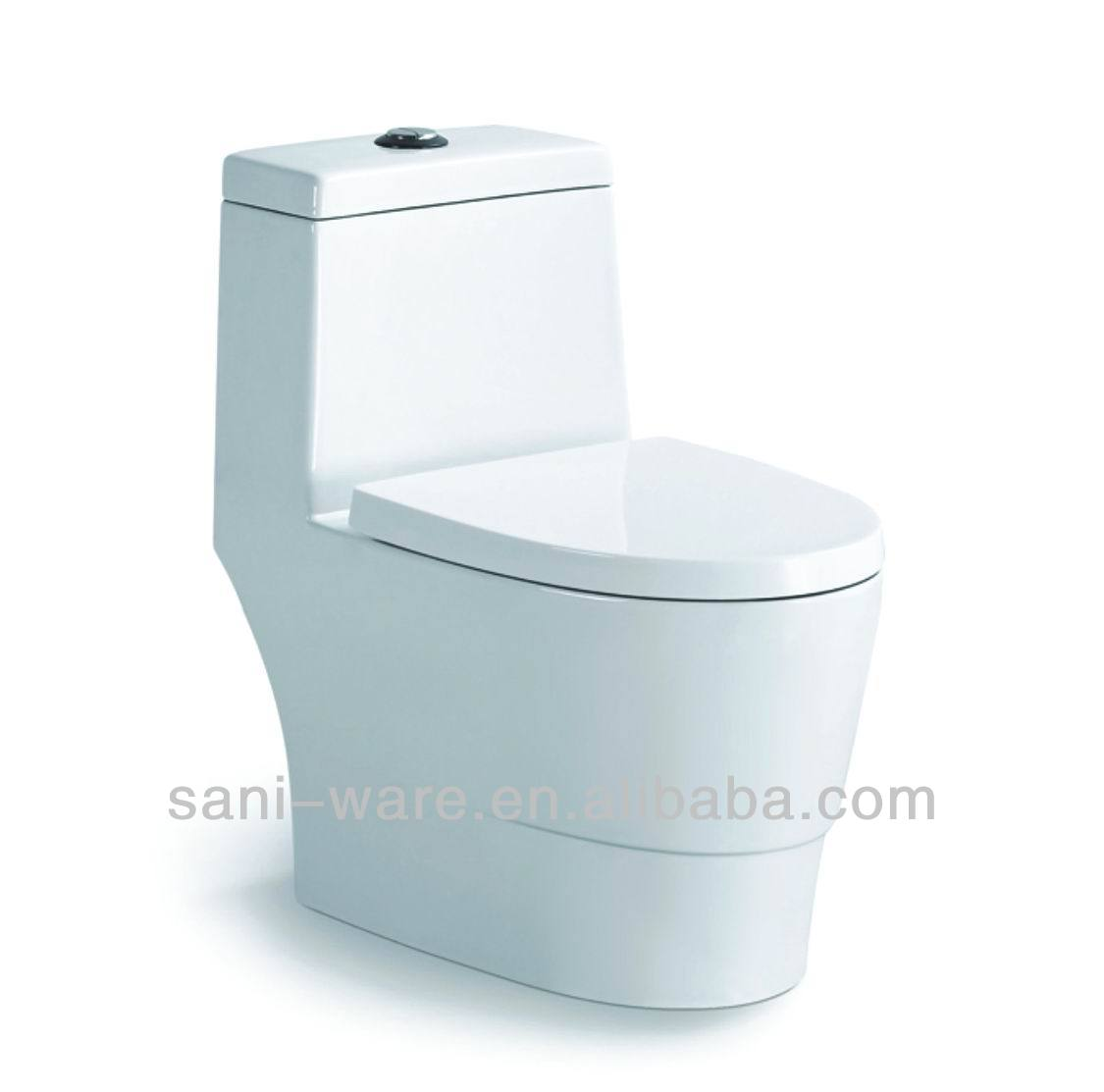 A very popular one piece super spiral siphonic water closet with S-trap from China S7511