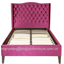 beautiful pink color queen size crystal dimond leather bed
