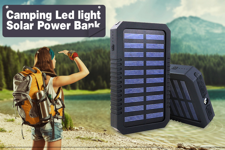 2019 Dustproof Portable Solar Power Bank with LED Flashlight Outdoor Emergency Camping solar power bank