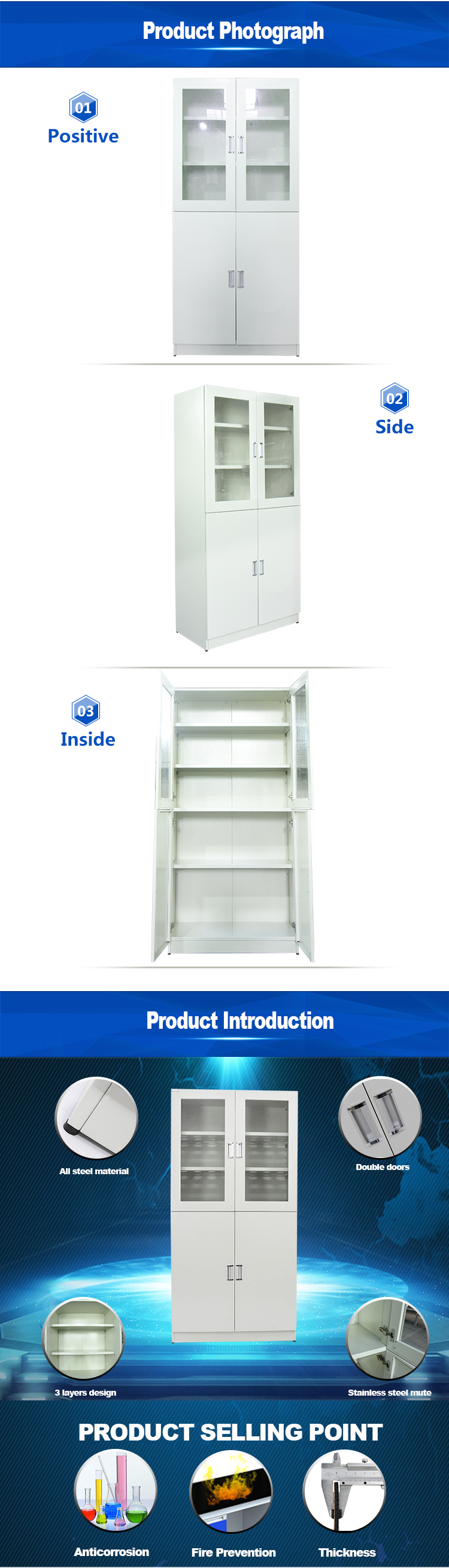 Wholesale cheap laboratory chemicals storage cabinet for hospital medical store