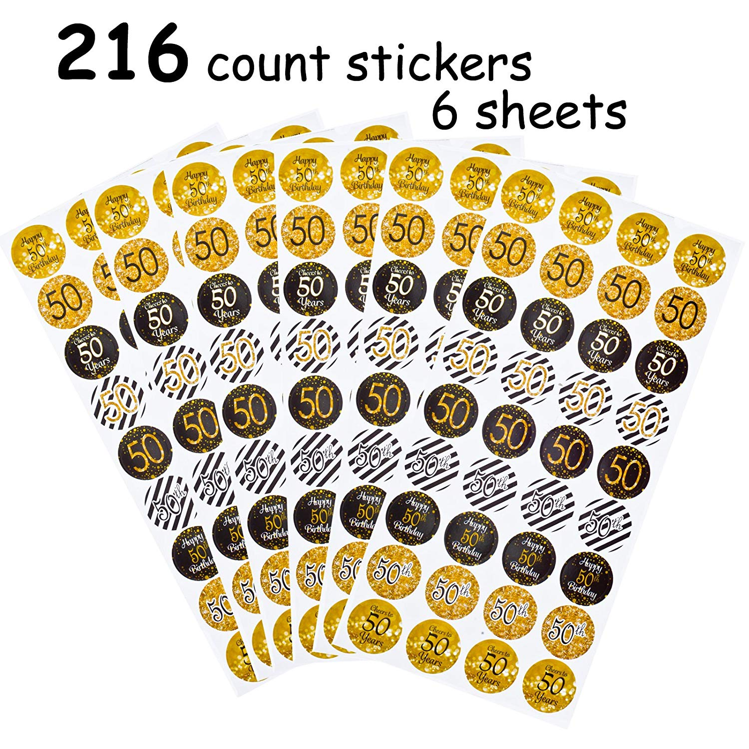 FECEDY 50th Happy Birthday Stickers 50 Anniversary Party Decorations Gold and Black 216 Count/Pack