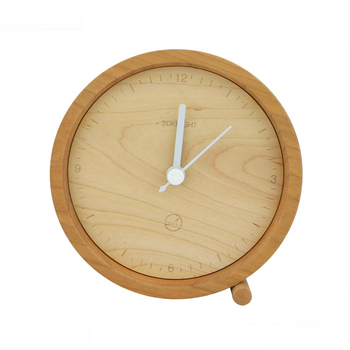 Fashion Promotion Gifts Round Shape Desk Top Natural Wood Clock