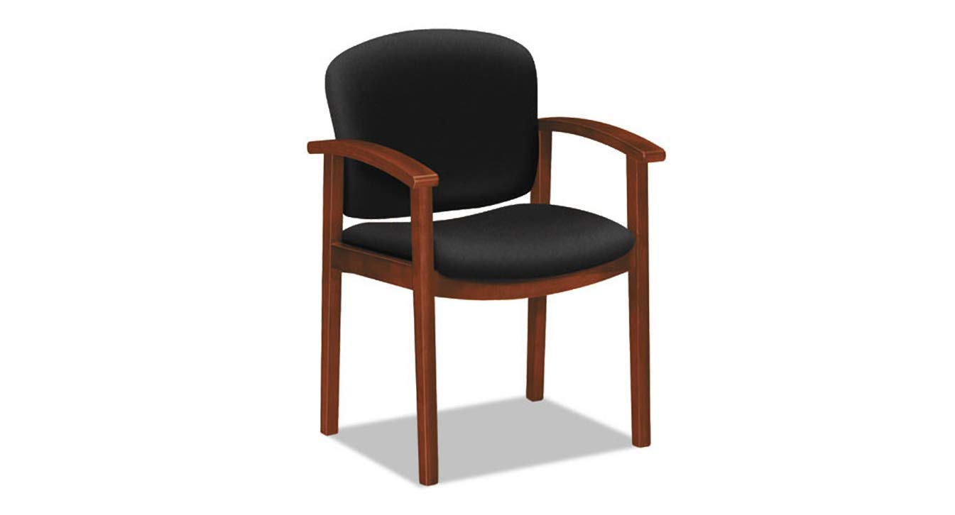 Wood Guest Chair 2111 Invitation Reception Series Cognac/Solid Black Fabric K&A Company